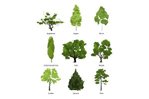 Vector set of green garden trees