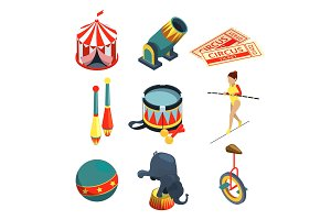 Funny circus illustrations in