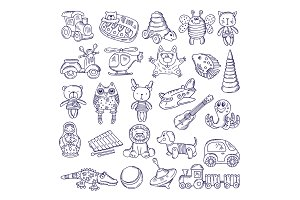 Vector drawing vintage collection of