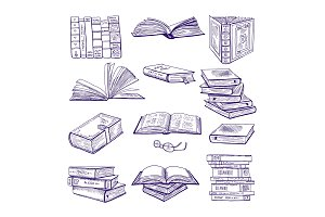Set of different books. Hand drawn