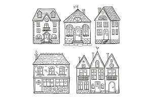 Funny doodle houses. Hand drawn