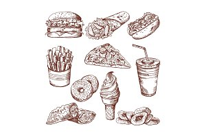 Fast food restaurant. Vector hand