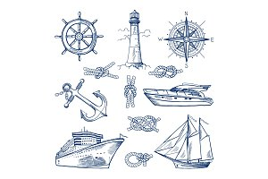Marine doodles set with ships, boats