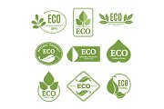 Labels or eco logo set with plants