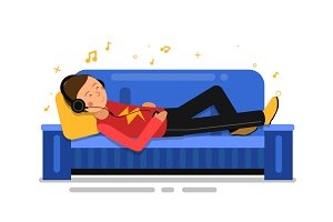 Man listening music and relaxing on