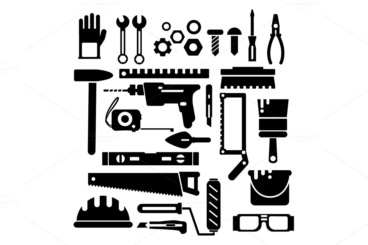 Silhouette of construction or repair in Graphics - product preview 8