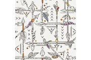 Seamless patterns with indian arrows