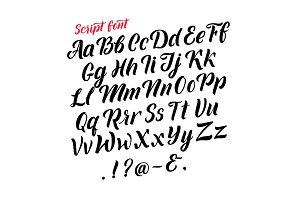 Handwritten latin alphabet. Cursive