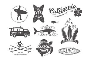 Surf boards emblem and badges vector