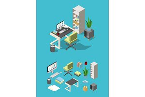Isometric office workspace with