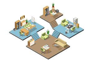 Different isometric modern offices