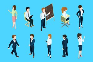 Isometric business people in