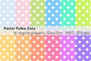 16 pastel polka dots digital paper