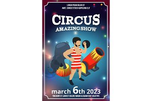 Poster design of circus show. Magic