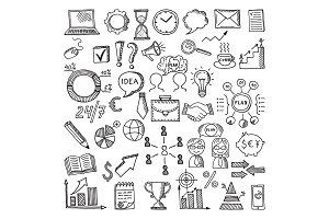 Hand drawn business icon set. Vector