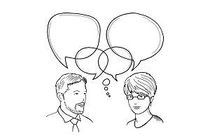 Hand drawn illustration of dialog