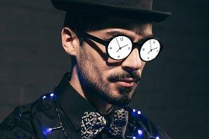 fashionable man with christmas light