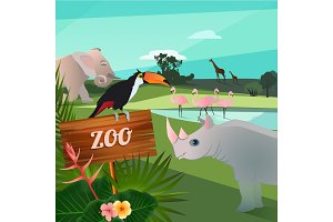 Cartoon illustration of wild animals