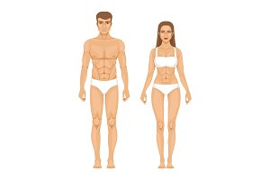 Model of sporty man and woman
