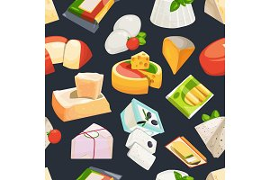 Different grades of cheeses. Vector