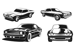 Monochrome illustration set of retro