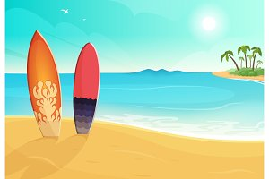 Surfboards in different colors. Sea
