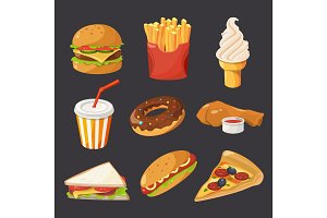 Fast food illustration in cartoon