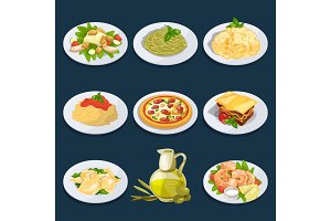 Different food from italian cuisine