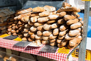 Fresh sourdough bread on market