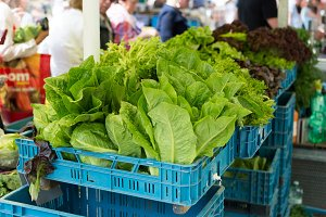 Fresh healthy greens on market