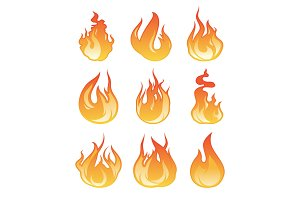 Cartoon flame set. Vector