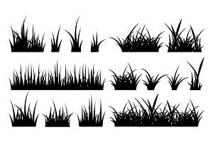 Monochrome illustration of grass
