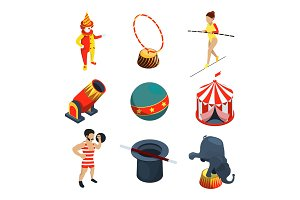 Circus icon set. People, animals
