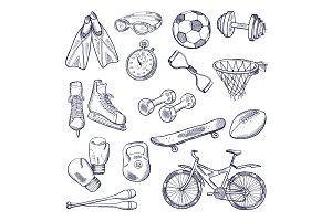Vector doodle set of sport equipment