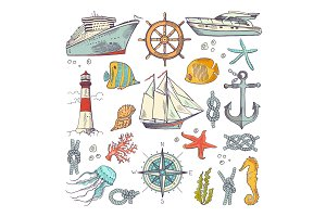 Marine coloring doodle set with