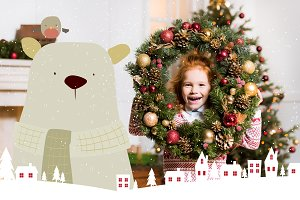 child with christmas wreath