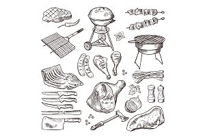 Bbq vector hand drawn illustration