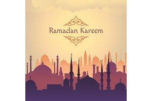 Ramadan arabik mosgue vector