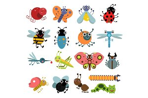 Vector illustration of insects and