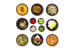 Vector illustrations of thai food