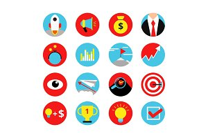 Concept retro icon set of business