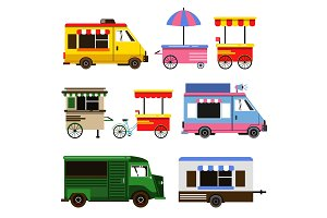 Set of food trucks and bicycles for