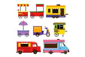 Different food trucks set. Vector