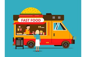 Cartoon illustration of food truck