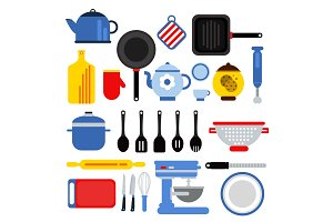 Different kitchen tools set isolated