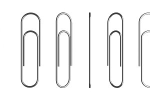 Set of metal paper clips isolated on