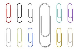 Set of colorful paper clips isolated