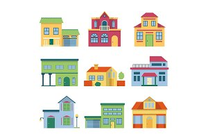 Colorful different houses with