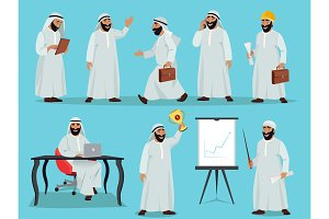 Different poses of arab businessman