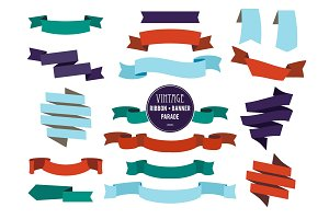 Banners ribbons and badges set